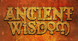 Ancient Wisdom logo - weathered with a celtic font theme